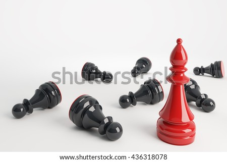 Red chess bishop win black pawns. Business concept of leadership. Chess game over. 3d rendering. - stock photo
