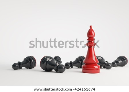 Red chess bishop win vs black pawns. Business concept of leadership. Chess game over. 3d rendering.  - stock photo