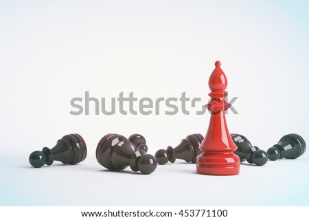 Red chess bishop win vs black pawns. Business concept of leadership. Chess game over. 3d rendering. Toned image - stock photo