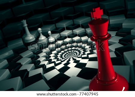 red chess king on round chessboard vs white figures