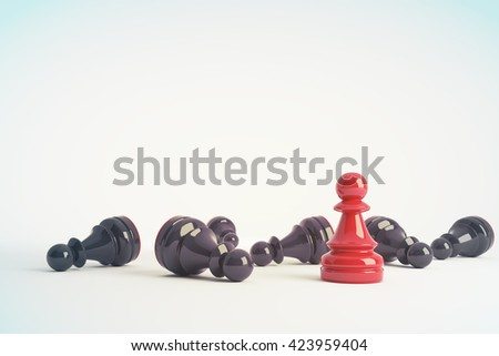 Red chess pawn win vs black pawns. Business concept of leadership. Chess game over. 3d rendering. Toned image. - stock photo