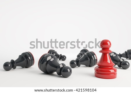 Red chess pawn win vs black pawns. Business concept of leadership. 3d rendering. - stock photo