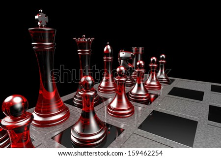 Red Chess Pieces Rendering on a Grey and Black - stock photo