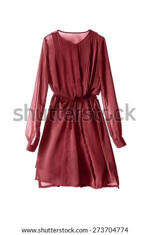 Red chiffon dress isolated over white - stock photo