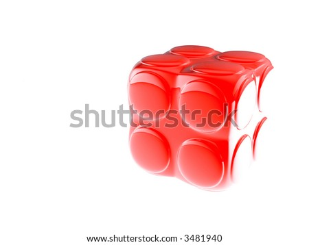 red child's block for games in outdoor on a white background - stock photo
