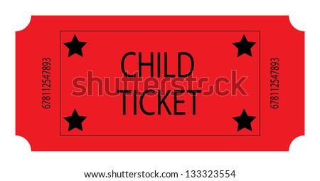 Red Child Ticket - stock photo