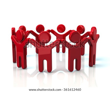 Red children holding hands in a circle on white background - stock photo