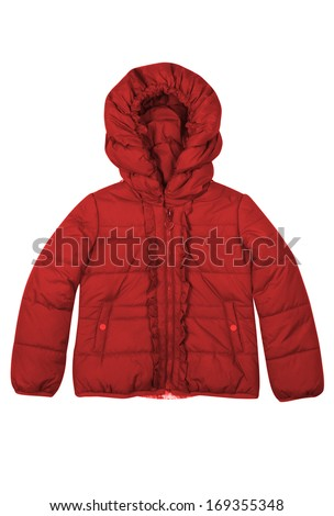 Red children jacket isolated on white - stock photo