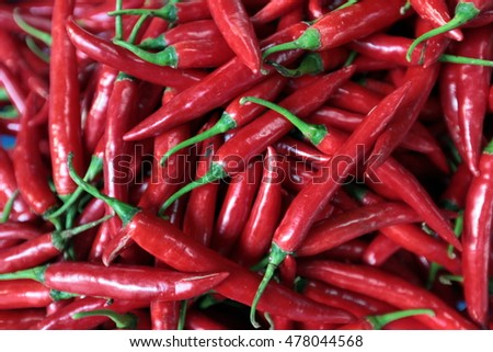 red chili at the Pak Khlong Market in the city of bangkok in thailand