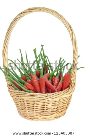 Red chili in a basket.