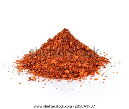 Red Chili Pepper powder isolated on white background