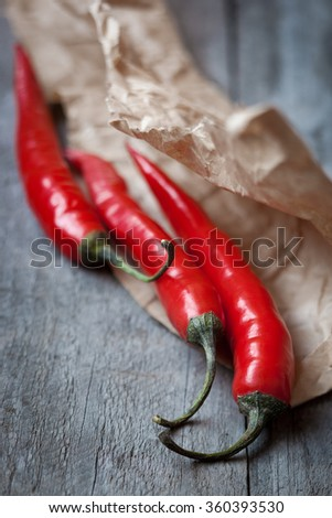 Red chili pepper,shallow depth of field - stock photo