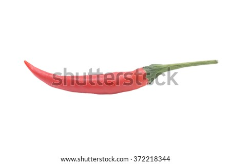 red chilies or chilli cayenne peppers isolated on white with clipping mask - stock photo