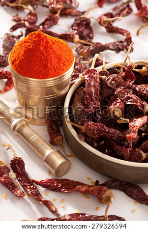 Red Chilli powder with whole dried chillies - stock photo