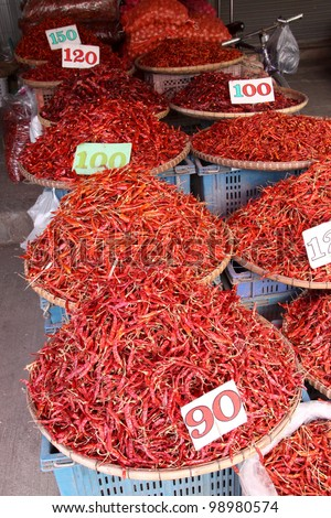 red chillies in grocery store. Thailand morning market - stock photo
