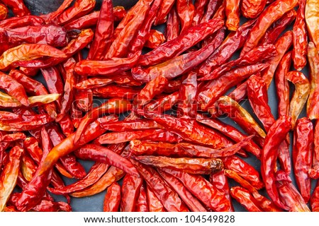 Red chilly dried Cayenne pepper - stock photo
