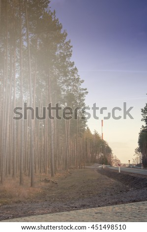 Red chimney and forest. - stock photo