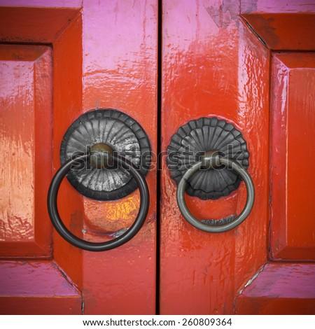 Red chinese door at Hong Kong Temple - stock photo