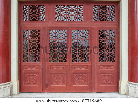 Red chinese doors. & Red Chinese Doors Stock Photo (Download Now) 187719689 - Shutterstock