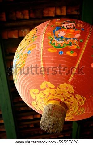 Red Chinese Lantern to Celebrate Chinese New Year - stock photo