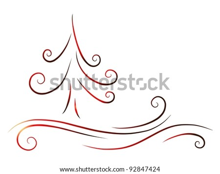 red christamas tree - stock photo