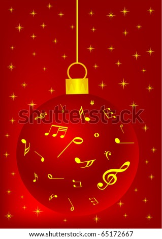 red christmas background with ball snowflake and music notes - Christmas Background Music