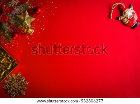 Red Christmas background with fir tree and little Santa
