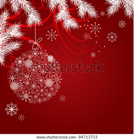 Red christmas background with hanging ball. Raster version.