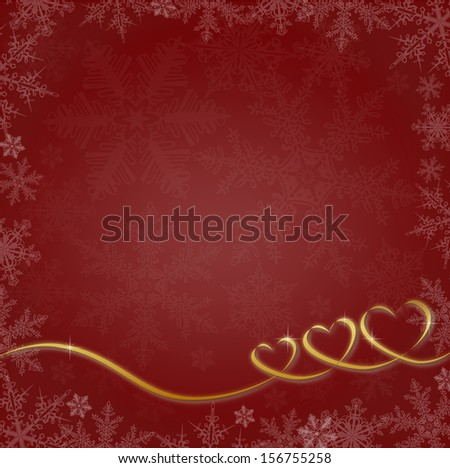 Red Christmas background with hearts and snowflakes, Montage