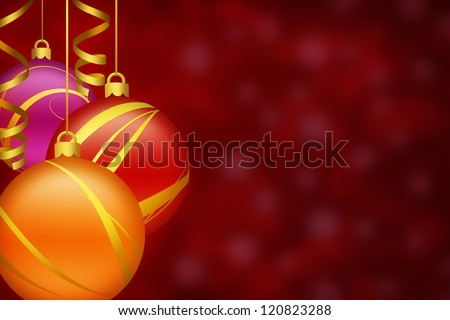 Red Christmas background with ornaments - stock photo