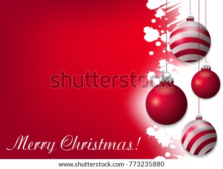 Red Christmas background with red baubles. Decorative elements for holiday design. illustration.