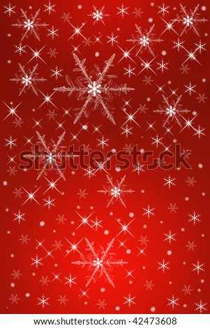 Red Christmas background with snowflakes. - stock photo