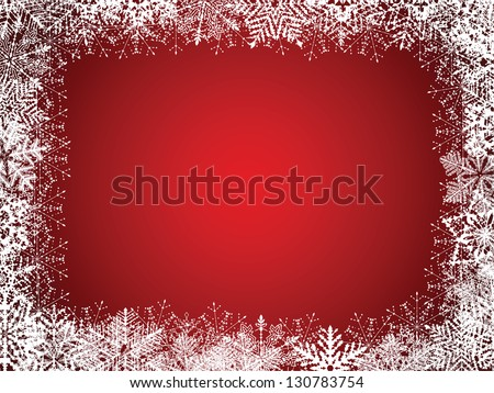 Red Christmas Background With Snowflakes. Raster Version - stock photo