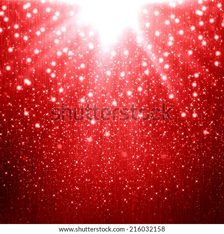 Red christmas background with star - stock photo