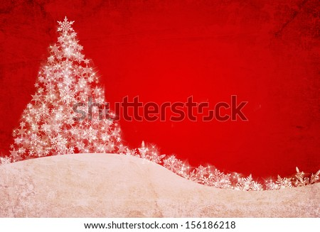 red christmas background with tree and snowflakes - stock photo