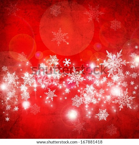 red christmas background with white snowflakes and stars - stock photo