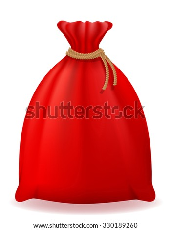 red christmas bag santa claus illustration isolated on white background - stock photo