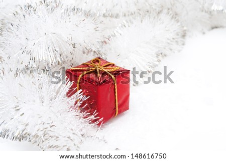 red Christmas ball and decoration on white background - stock photo