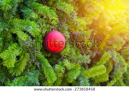 Red christmas ball decor on tree. Vintage filter. - stock photo