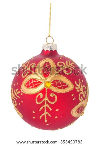 red christmas ball decoration with a beautiful pattern, isolated on white background