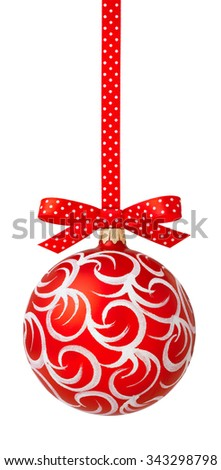 Red Christmas ball hanging on red ribbon - stock photo