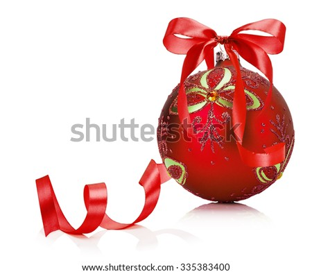 red Christmas ball isolated on the white background
