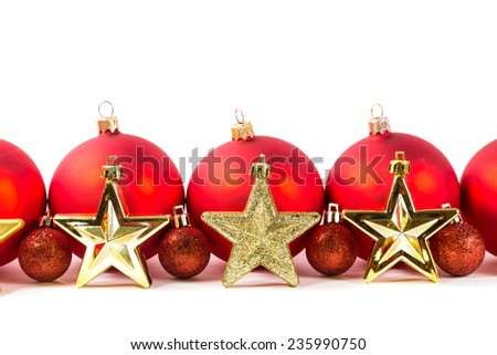 Red christmas ball isolated on white background - stock photo