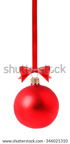 red Christmas ball Isolated on white background Clipping Path