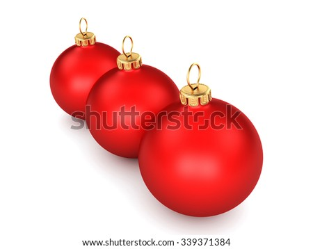 Red Christmas ball on a white background