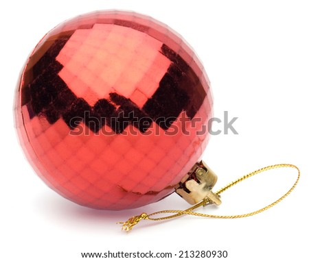 red christmas ball on white background - stock photo