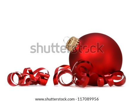 red christmas ball over white background