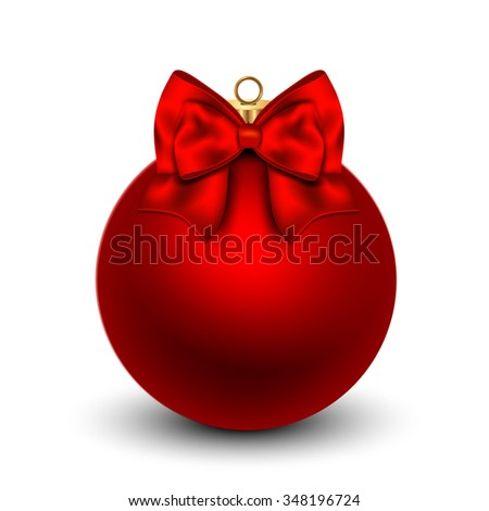 Red Christmas ball with a bow, isolated on white background.