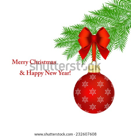 Red Christmas ball with bow hanging on fir tree branch over white background. - stock photo