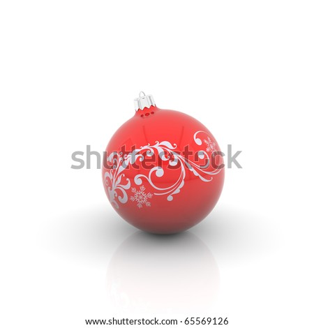 Red christmas ball with curl on white background - stock photo